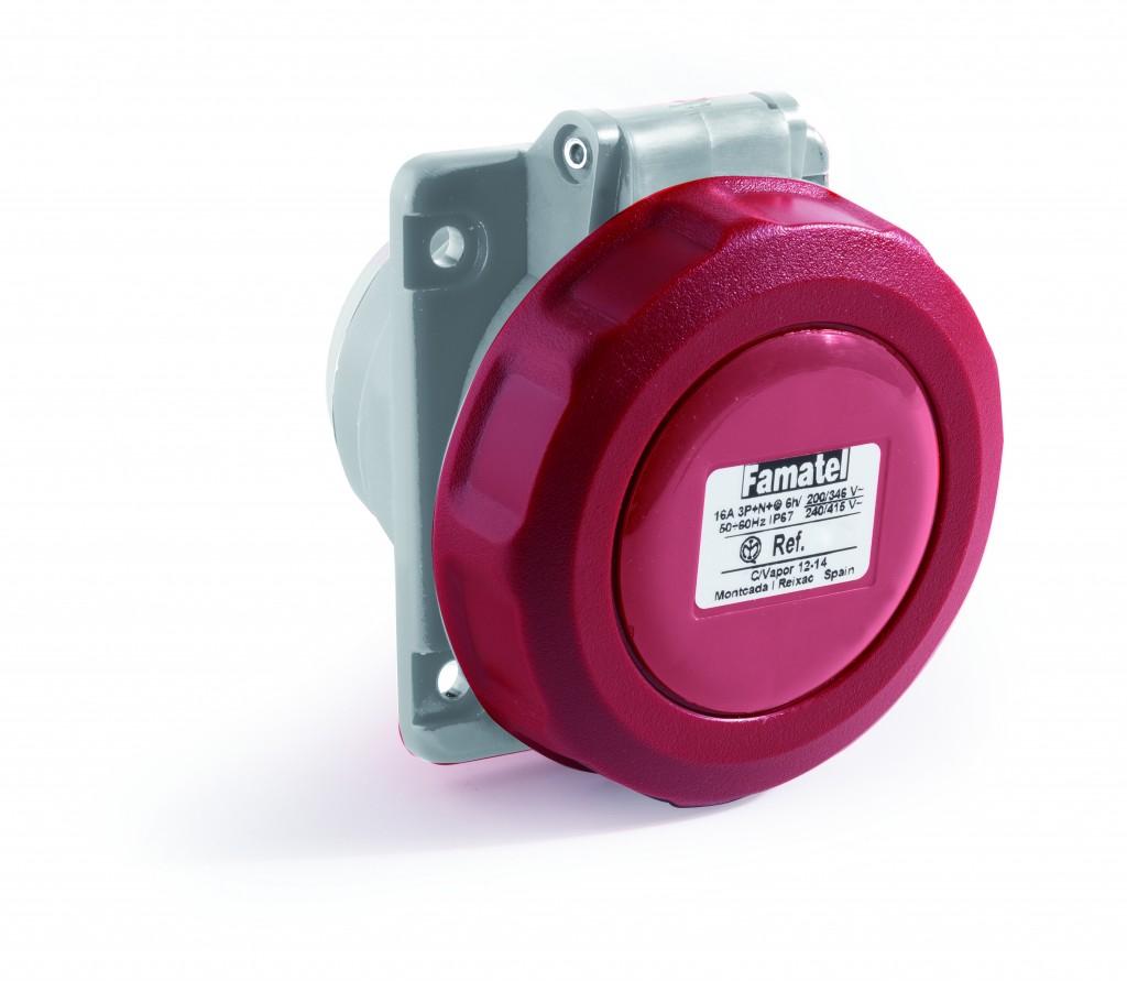 Tomada embutir inclinada 32A - IP67  3P+T  6H - 380/440V - 2